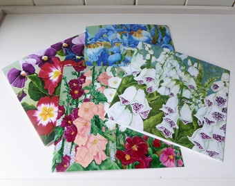 Pack of 4 Floral Greeting Cards - From the artwork of Cassie Butcher (Square card set 1)