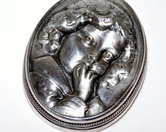 Gorgeous HENRYK WINOGRAD Art Nouveau Sterling Silver Cherub Pendant Brooch Repousse