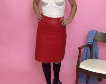 Red leather midi pencil skirt S