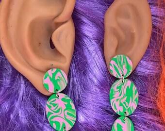one of a kind - tropical earrings - statement earrings - neon pink + green drop earrings