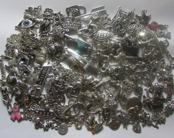 Grab Bag Charms, Assorted Charms, Silver, Bronze, Mixed Charms- Jewelry Making- Metal Charms