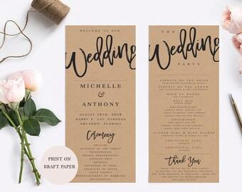 Wedding Program Template Modern Wedding Program Template