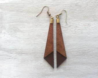 Leather Dangle Earrings Brown Dangle earrings Leather earrings