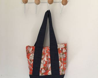 Handmade shoulder bag orange print with denim