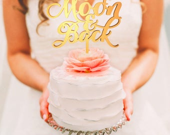 To The Moon And Back Cake Topper, To The Moon And Back, To The Moon And Back Wedding Cake Toppers, To The Moon And Back, Moon Cake Topper