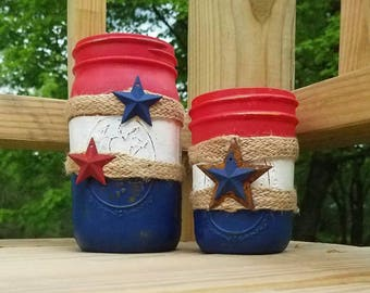 Mason Jar Candles - Large Citronella Candles Mosquitos - Fourth of July Candle - Bug Candles - Mosquito Candles - Patriotic Decor Candle
