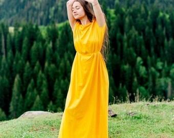 Long dress with hand weaved shoulders, maxi dress, seamless, boho dress, Tuba-dress, size XS/S