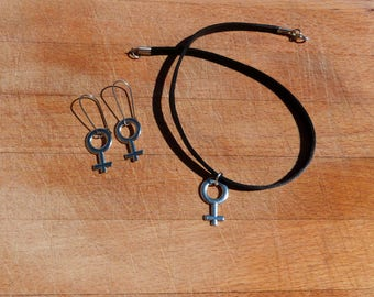 Set necklace leather and earrings - venus symbol - Set black leather necklace and earrings - Both with the symbol of venus