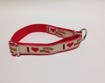 Limited Slip Dog Collar, Small Red Limited Slip Collar, I Love Bacon Limited Slip Dog Collar, Small Adjustable I Love Bacon Dog Collar