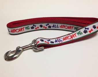 Cute Red Dog Leash, Red Leash, Dog Bone Leash, Paw Print Leash, All about Me Leash, Heavy Duty Leash, Dog Leash