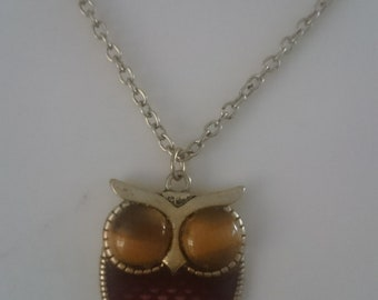 Tiger Eye necklace - OWL and brass