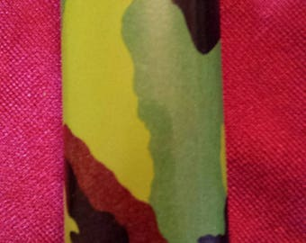 Vintage 80'S~Military Green Camouflage~Cigarette~Tobacco~Bic Lighter Case~Cover~Baked Enamel-Never Used!