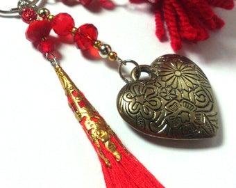 Keychain Red Gold Pendant Heart - Pom Pom - Tassel - Gift for Her - Colorful - Keyring - Love - Car Key