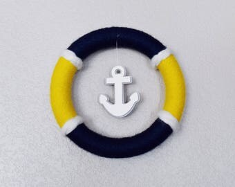 Nautical Anchor Wreath, Navy Blue and Yellow Anchor Wreath, Lake House Wreath, Beach House Wreath, Lake House Decor , Lake Cabin Wreath