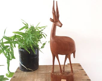 Vintage Wood Deer - hand carved african animal - Bohemian Boho Eclectic Jungalow Decor Style Home - Africa - wooden antelope gazelle #0480