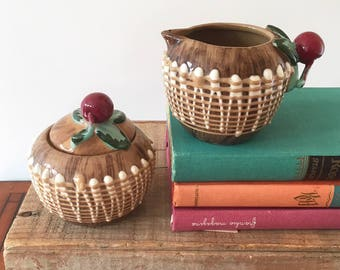 Pair Vintage Retro Cherry Milk Jug & Sugar Bowl - boho bohemain eclectic jungalow style decor home - korea japan ceramics ? #532