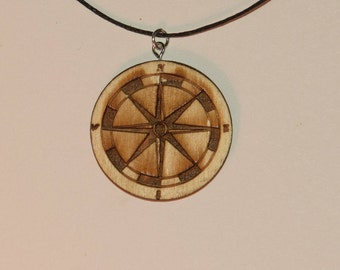 Wood compass necklace