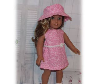 "American Made Girl Doll Clothes. Pink Dress & Hat For 18"" Dolls. Toy dolls Clothes ( American Girl Doll is not included. )"