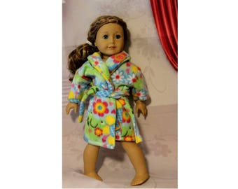 "American Girl doll not included, Robe only.  Super plush Frogs & Flowers Fleece  Clothes for 18"" Dolls. Girl Christmas Gift"