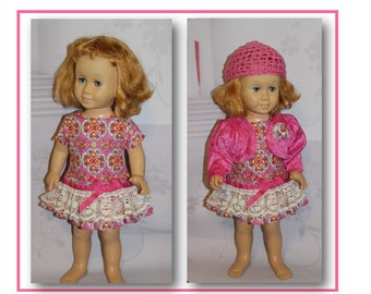 """3 Pc Set. Pink Dress, Jacket & Hat will fit 20"""" tall dolls like Chatty Cathy Dolls. Clothes only, doll not included. Toy doll clothes"""