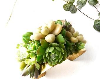 Manchette Shaylee : bijou végétal, parure de mariage, baptême, soirée événementielle, laiton doré et mini plantes grasses