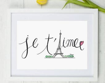 Valentines Poster, Valentines Day, Je taime Poster, Gift, Card, Watercolor, Drawing, Paris, Digital Illustration, Print, Digital Art, Eiffel