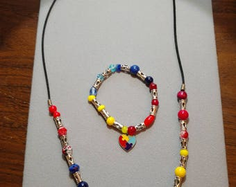 Set: Autism Awareness Necklace and Bracelet - No Two Beads are Exactly Alike