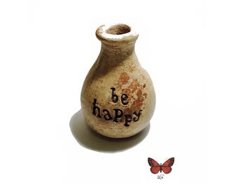 Be Happy- Stone Bud Vase or Oil Diffusor