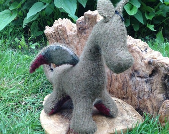 Dragon Baby, olive green, recycled felted wool sweater, wool stuffed animal, Waldorf aesthetic, nature table
