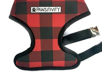 Pawsitivity Reversible Dog Harness - Buffalo Plaid & Winter Sweater Print