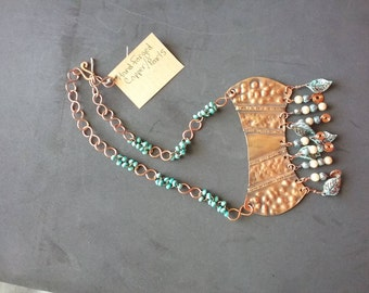Necklace, Copper, Hand Forged, Fold Formed, One of a kind,