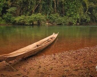 "Canoe Wall Art, River Print, Canoe Print, Photography Prints, Jungle Wall Decor, River Decor, Green Brown Art, Earthy Art  ""Jungle Canoe"""