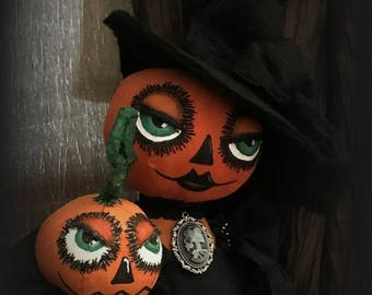Primitive Folk Art Pumpkin Witch Doll all Hand Stitched for Halloween by Tattered Magnolia