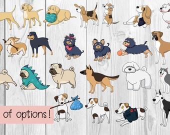 Dog Stickers   Corgi Sticker, Pug Sticker, Pitbull Sticker, Dog Decal, Sticker Set, Planner Stickers, Laptop Sticker, Dog Car Decal, Cute  