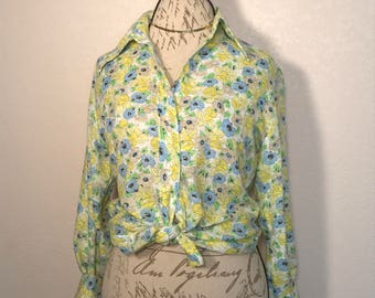 Vintage Floral Print Koret Blouse Brady Bunch Inspired 70s Blouse