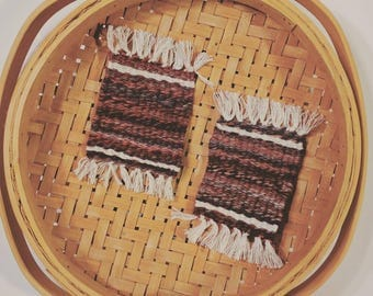 Set of 2 // Wool Woven Rug Coasters // Boho Home Accessories // Wool Faux Persian Rug Coasters