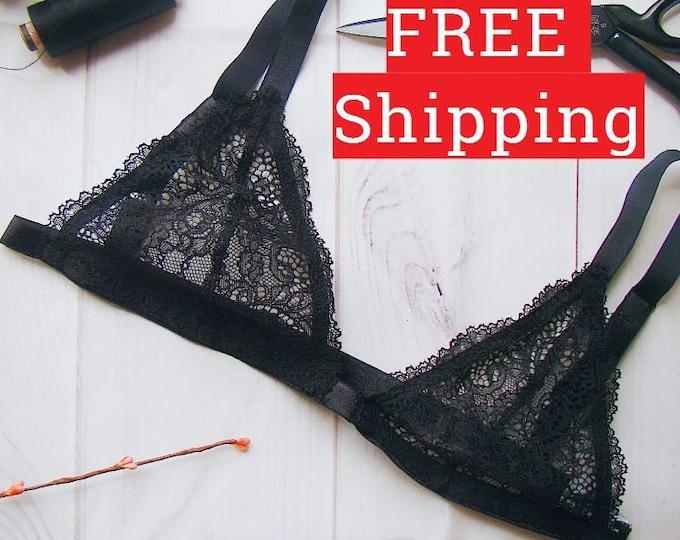 Black Bra, Bralette, Lace Bra, Cheap Bra, Lace Bralette, Lingerie, Lace Lingerie, Lace Underwear, Sexy Bralette, Cheap Lingerie, Triangle