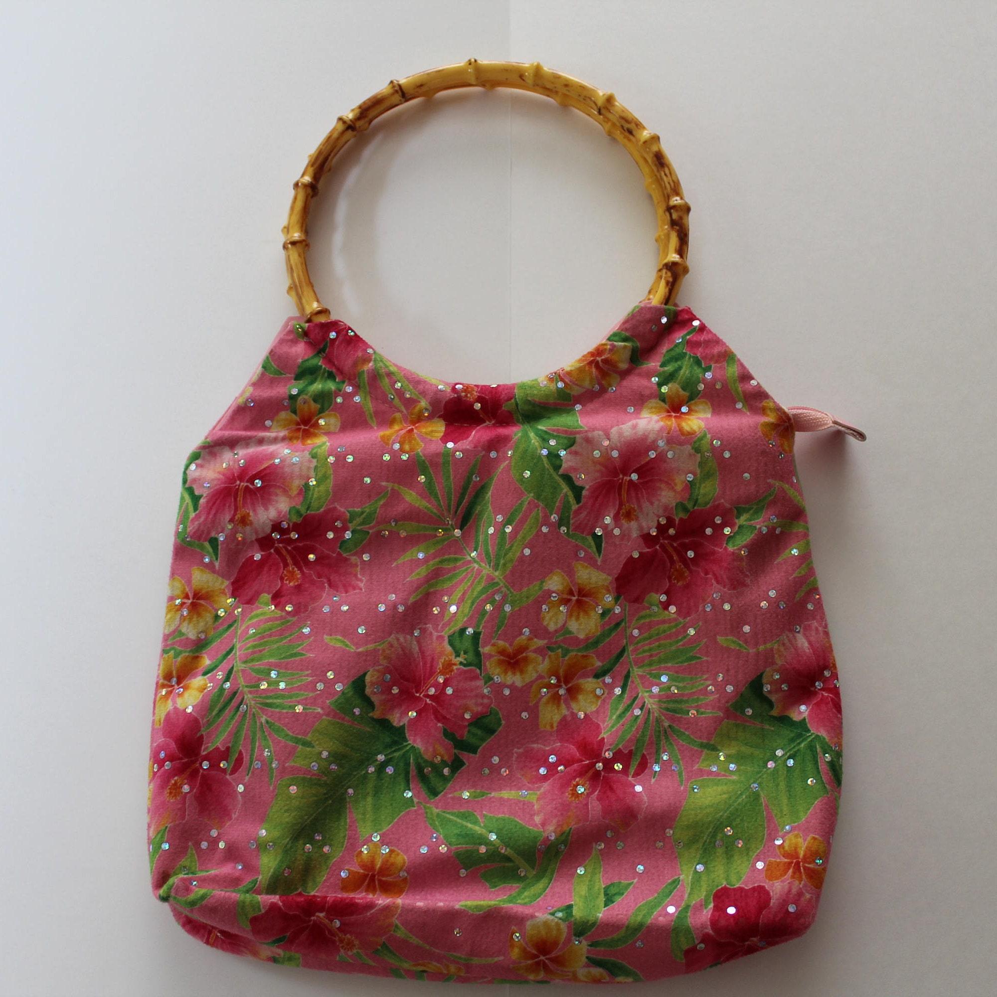08a5b5f21413 Vintage floral fabric shoulder bag with faux wood top handles  Chic retro  fabric shoulder purse