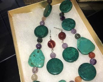 Handmade stone earrings and necklace set