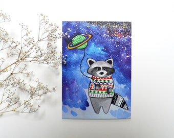 Holiday gift for women christmas handmade decoration christmas watercolor art print funny holiday card blue postcard hippie card racoon art