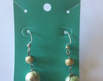 Gold and Green bead earrings