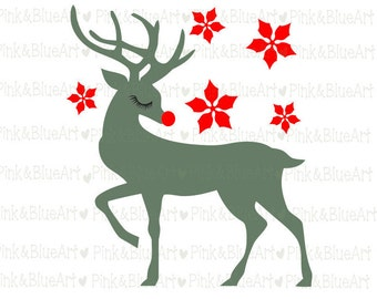 Deer Christmas SVG Cut Files Silhouette Cameo Svg for Cricut and Vinyl File cutting Digital cuts file DXF Png Pdf Eps