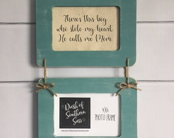 There Was This Boy Who Stole My Heart, He Calls Me Mom - Personalized Hanging Wall Picture Frame - You Choose Color (Item 1130K2)