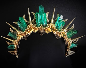 "Gold & green crystal goddess crown tiara halo with spikes ""LESLIE"""