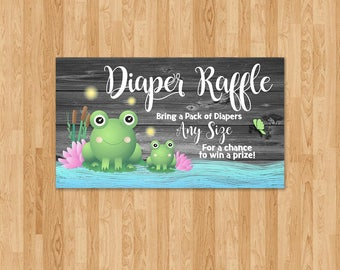 Frog Baby Shower Diaper Raffle Insert - Reclaimed Wood - Baby Frog Card - Boy Baby Shower Diaper - Froggy Themed Shower - Frog Party Favors