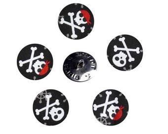 Fabulous pirate foxes fabric-covered button background black Robert Kaufman