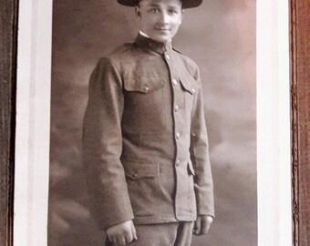 Vintage Photo World War 1 WW1 American Army Soldier