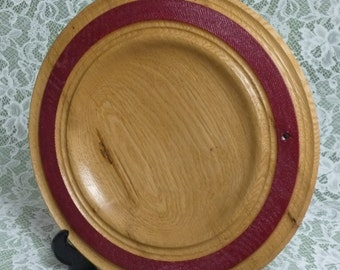 """OAK PLATTER 11.5""""x1.25"""" with red textured rim; oil finished"""