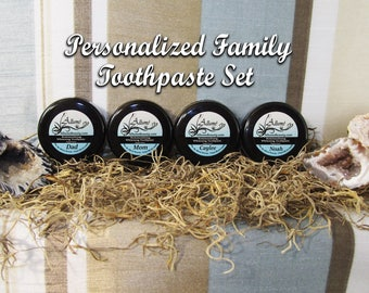 Peppermint Flavor Individual Personalized Family Toothpaste Set - organic, vegan, fluoride free