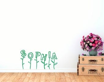 Personalized Blooming Name Wall Decal Decor
